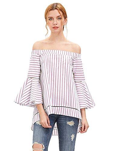 StyleDome Mujer Camiseta Blusa Playa Rayas Sin Tirantes Mangas Largas Volantes Hombros Descubiertos Rojo