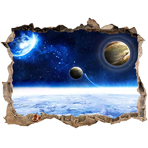 Wall Decals Space Universe 3D Wall Sticker Broken Out of The Windows Decal Vivid Removable Mural Decor Art Wallpaper Removable Baby Kids Nursery Room Vinyl Universal Earth Planet (Space)