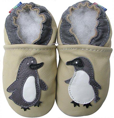 Carozoo unisex baby soft sole leather infant toddler kids shoes Penguin Cream 18-24m