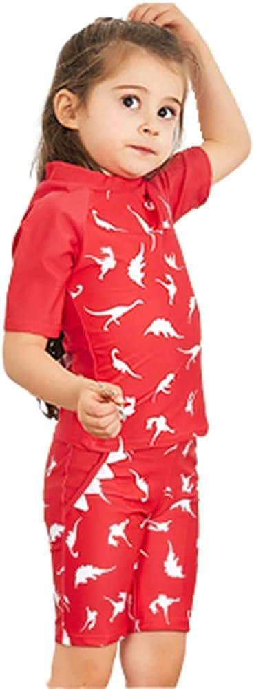 Girls Two Pieces Dinosaur Swimsuit Set Kids Rash Guards Bathing Suit Sun Protective Surfing Suit UPF 50+