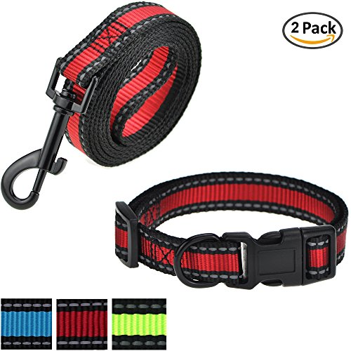 Mile High Life Dog Leash, Collar Combo Pack | RED| Reflective 3M Stripe with Nylon Band | (Red 2 Pack Leash Collar, Large Neck 16