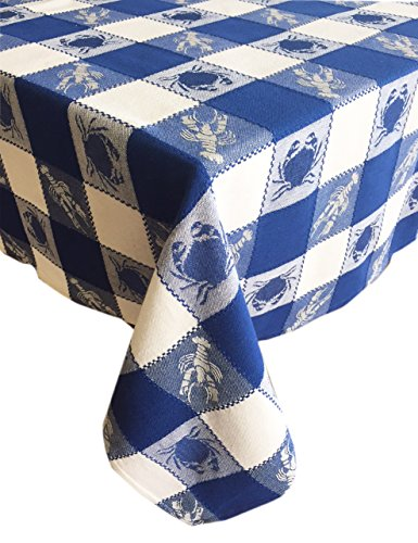 sign Indoor/Outdoor Cotton Tablecloth - Crab and Lobster Check Pattern Tablecloth - 60 x 84 Oblong - Blue (Plaid Cotton Tablecloth)