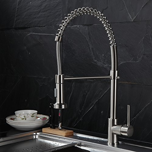 Fapully 100272 Contemporary Spring Pull-down Faucet,Single Handle Kitchen Sink Faucet with 2 Function Sprayer,Brushed Nickel