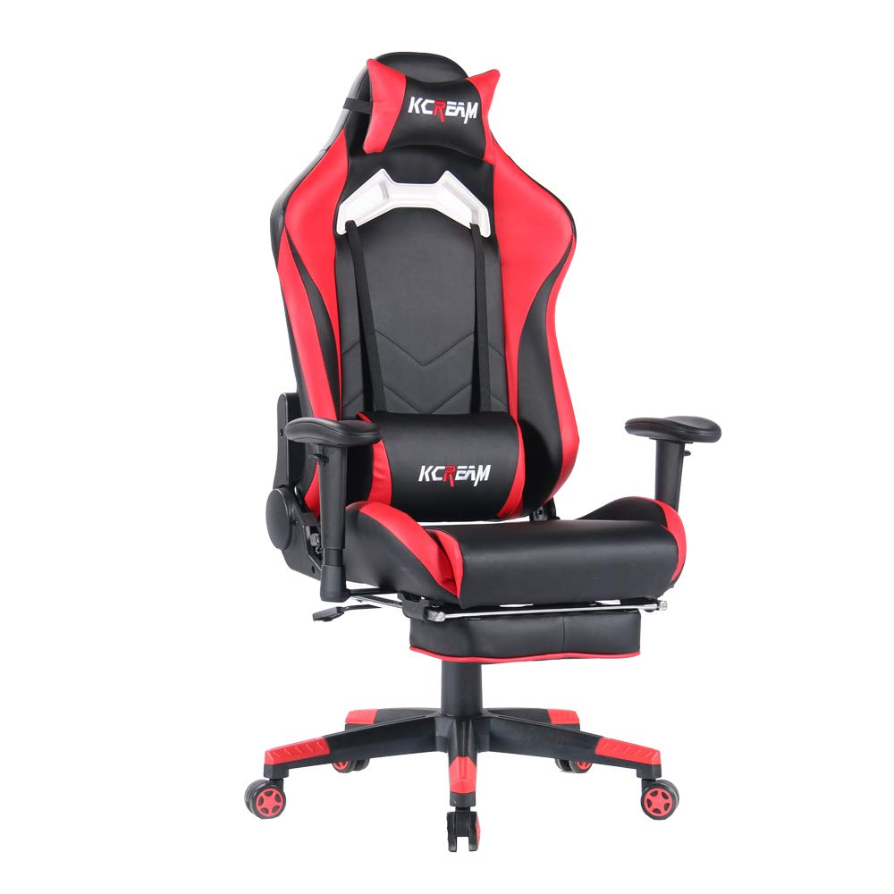 KCREAM Gaming Chairs High Back Computer Chair of Professional Racing Style Comfortable Gamer Chair with Footrest and Headrest and Lumbar Pillows (Red&Black) by KCREAM