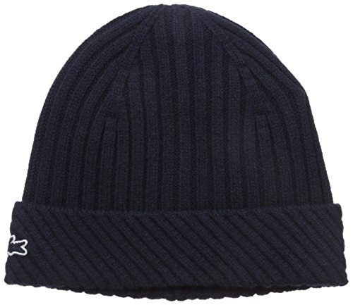 Lacoste Men's Wool Heavy Knit Cap with Tonal Croc, Navy B...