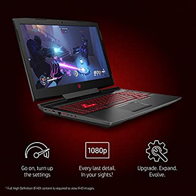 OMEN by HP 17-inch Gaming Laptop w/ 144Hz Anti-Glare G-Sync Display, i7-8750H, GeForce GTX 1060 6 GB, 16GB 2666MHz RAM, 1TB HDD & 128 GB PCIE SSD, Windows 10 Home (17-an120nr, Black), Metal