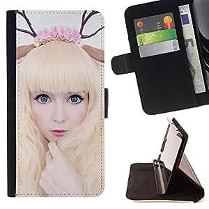 BullDog Case - FOR/Samsung Galaxy Core Prime / - / horns art deer woman blonde fairy white /- Monedero de cuero de la PU Llevar cubierta de la caja con el ID Credit Card Slots Flip funda de cuer