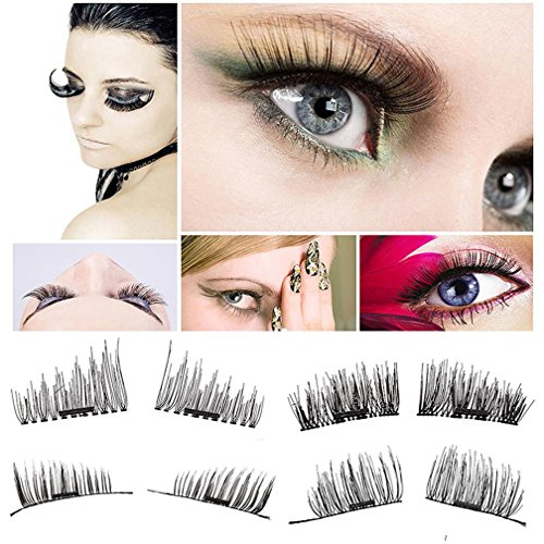 New [NEWEST VERSION]Magnetic Eyelashes, 3D Reusable False Eyelashes, Ultra-thin 0.2mm Fake Mink Eyelashes for Natural Look 1 Pair 4 Pieces Best Fake Lashes Extensions for cheap