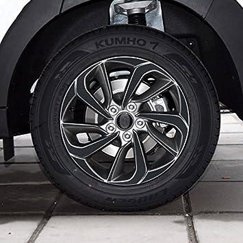 (para 4 ruedas R17) cubo de rueda de vinilo de fibra de carbono borde negro pegatinas para Hyundai Tucson 2016: Amazon.es: Coche y moto
