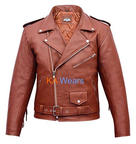 Mens Motorbike Classic Biker Perfecto Jacket Leather Vintage Motorcycle Brando UIq1Ur