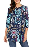 AINCRSO Womens Floral Tunic Tops with 3/4 Sleeves - Long Casual Floral Shirt Blouse with Round Neck – Buttons up Top Shirt
