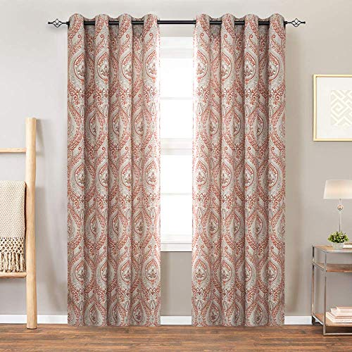 Vintage Linen Curtains for Living Room with Multicolor Damask Printed Drapes for Bedroom Medallion Curtain Sets for Windows Patio Door (2 Panels, 84 Inch, Terra Cotta)