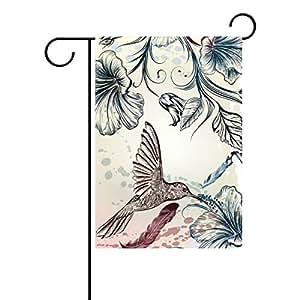 jstel casa flores Vintage Tejido de poliéster de colibrí jardín banderas Lovely y resistente al moho Custom de resistente al agua 12x 18inch