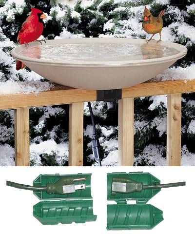 API 650 Deck Mounted Heated Bird Bath with Outdoor Cord (Heated Birdbath Deck)
