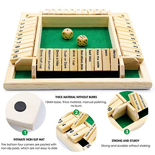 BEIJITA English Version Shut The Box Dice Game, Classic 4 Sided Wooden Board Game, 2-4 Players Number Dice Board Game Suitable,A Table Dice Game Suitable for Gathering Families