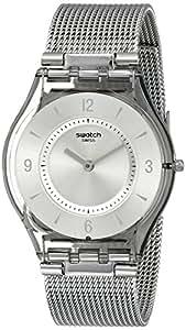 Swatch Metal Knit SFM118M - Reloj de mujer de cuarzo, correa de acero inoxidable color plata