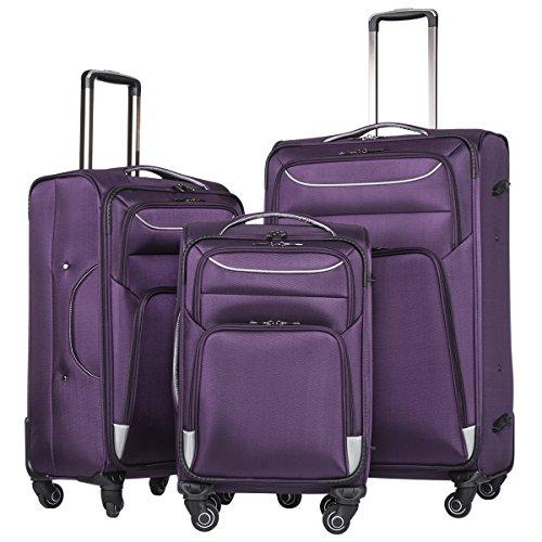 coolife-luggage-3-piece-set-suitcase-spinner-softshell-lightweight-purple-sliver