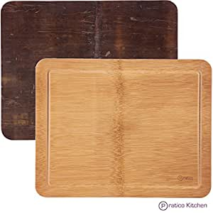 Bamboo Cutting Board with Juice Groove and Dark Rustic Serving Tray Backside - 14 x 11 x 0.75