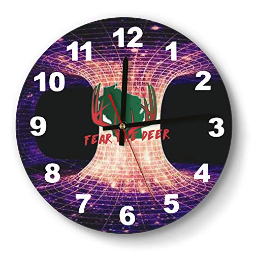 Milwaukee State map Deer Antler Wall Clock Decorative Wall Clock Round Easy to Read Home/Office/School Clock,Wall Clocks Silent Battery Operated