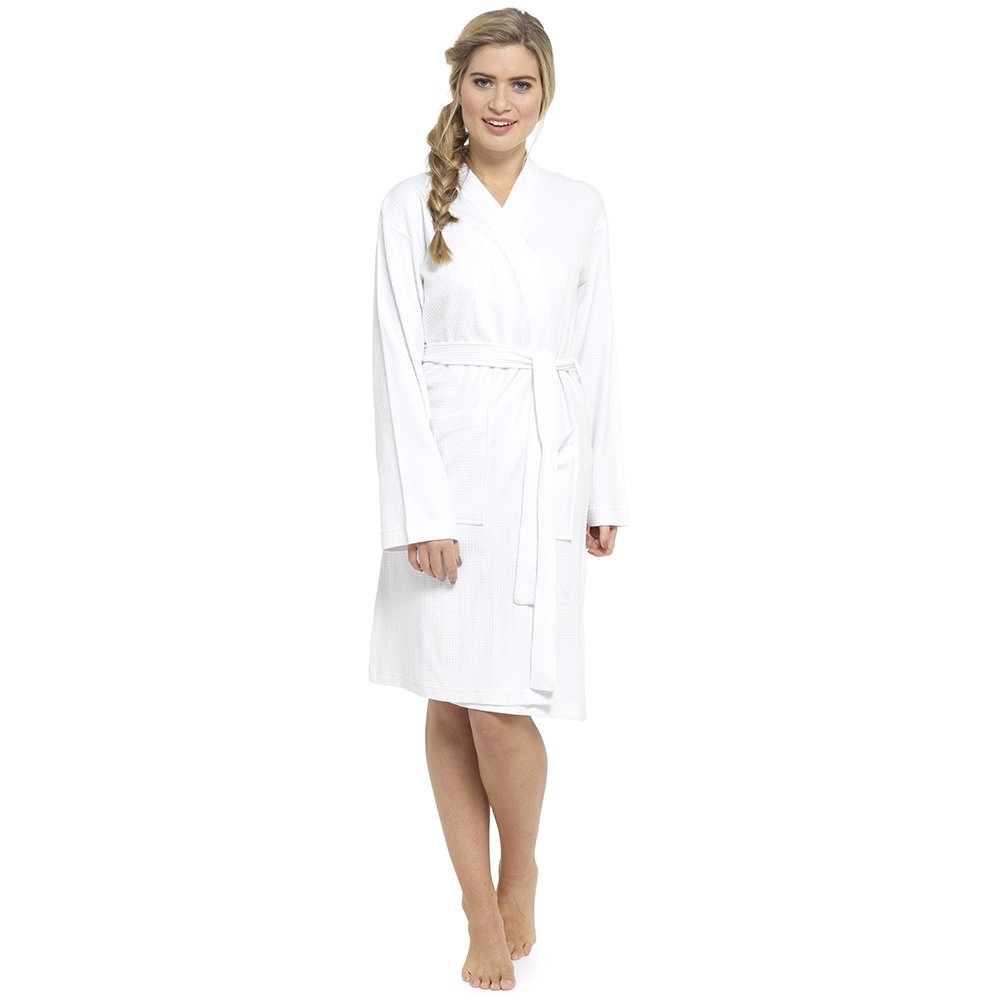 Foxbury Adults Waffle Dressing Gown/Robe 'one Size ' White