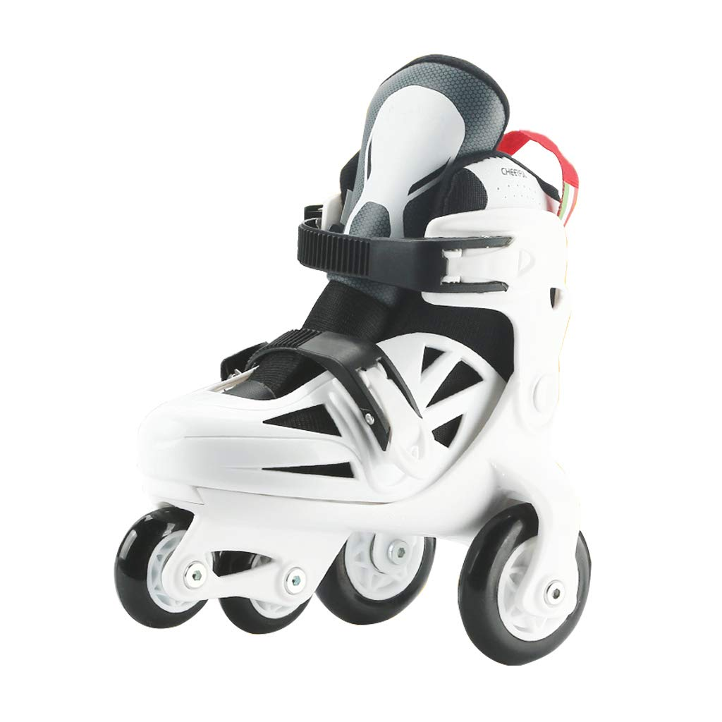YANGXIAOYU Adult Beginners, Children's Double Row Skates, Professional Roller Shoes, Anti-Collision Shock Wheel (Double Rear Wheel Flash) (Color : White+Black, Size : 25-29)