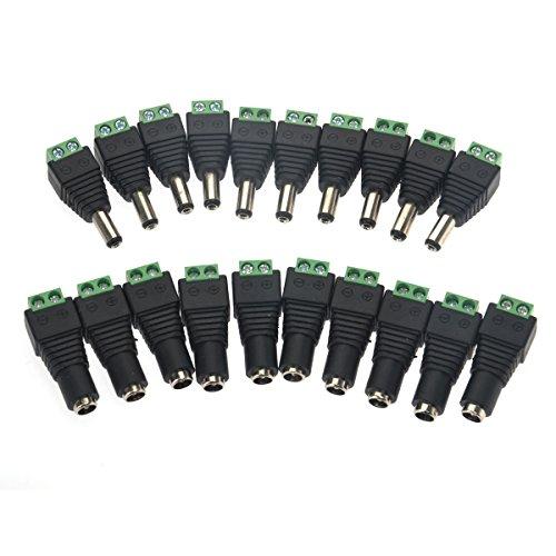 LEORX 2.1 * 5.5 mm männlich und weiblich DC Power Stecker Buchse Adapter für die CCTV-Kamera-LED-Scheinwerfern - 10 Paar