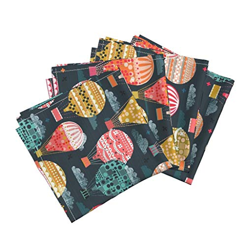 Roostery Balloon Organic Sateen Dinner Napkins Hot Air Balloon Flying Colorful Modern Nursery Decor by Andrea Lauren Set of 4 Dinner Napkins