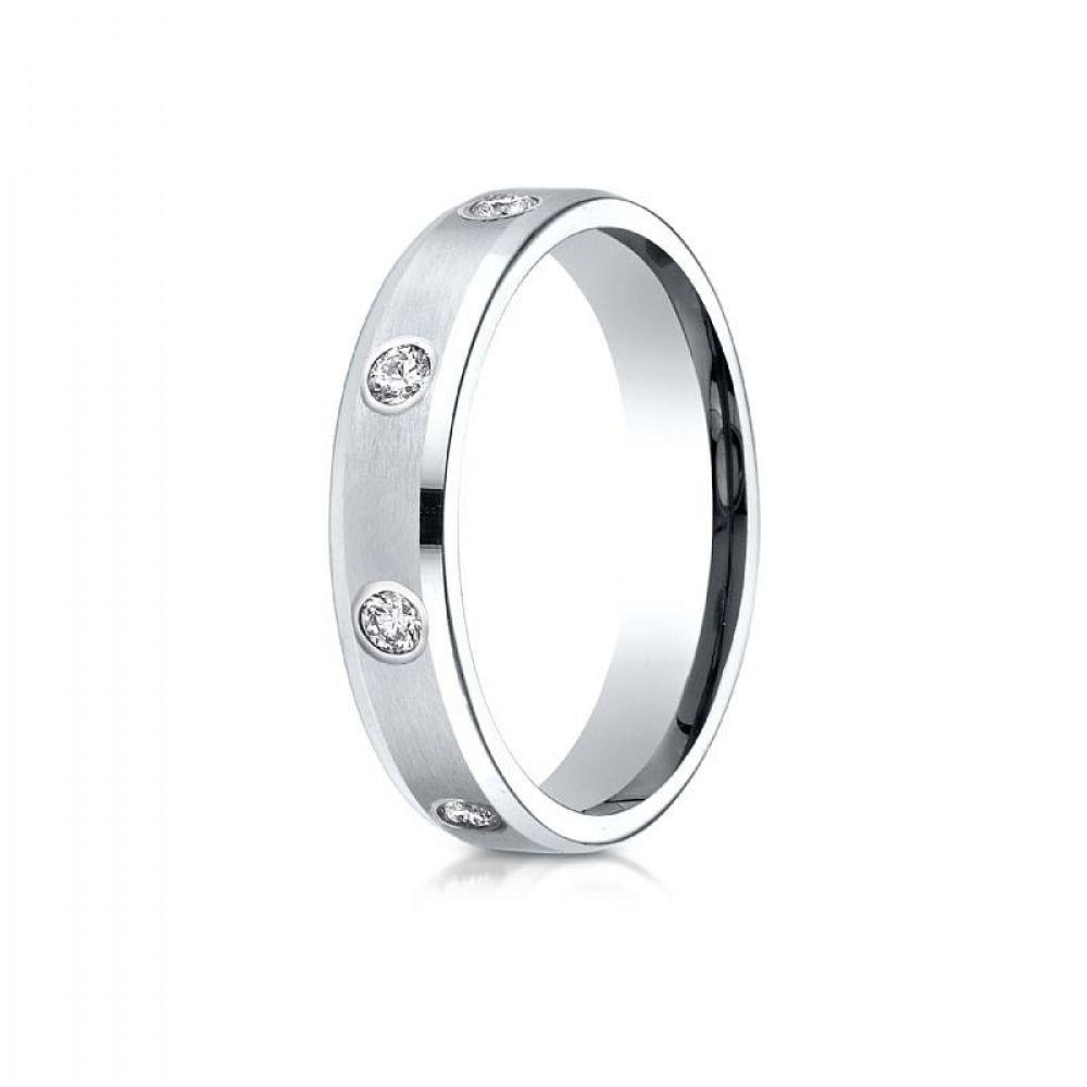 Platinum Gold 4mm Comfort-Fit High Polish Edge Satin Center Burnish Set 8-Stone Diamond Eternity Ring (.32ct) - Size 7.5