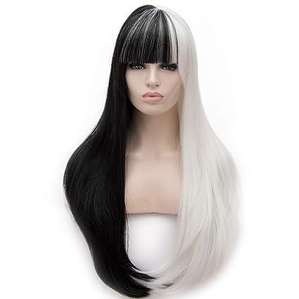LifeUp Peluca de pelo largo, resistente al calor, mitad negra, blanco, 2