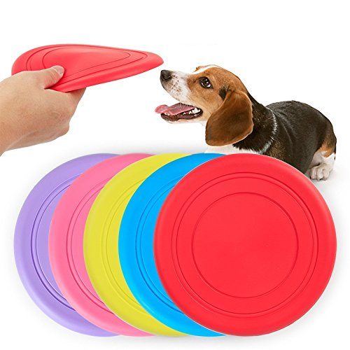 Stock Show 5Pcs 18cm/7 inch Pet Silicone Play Frisbee Flying Disc Bite Resistance Fetch Exercise Training Tools Outdoor Flyer Interactive Toys for Small Medium Dogs/Puppy, Random Color (18 Roses Assorted)
