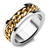 Epinki,Fashion Jewelry Men's Stainless Steel Rings Band Silver Gold Chain Wedding