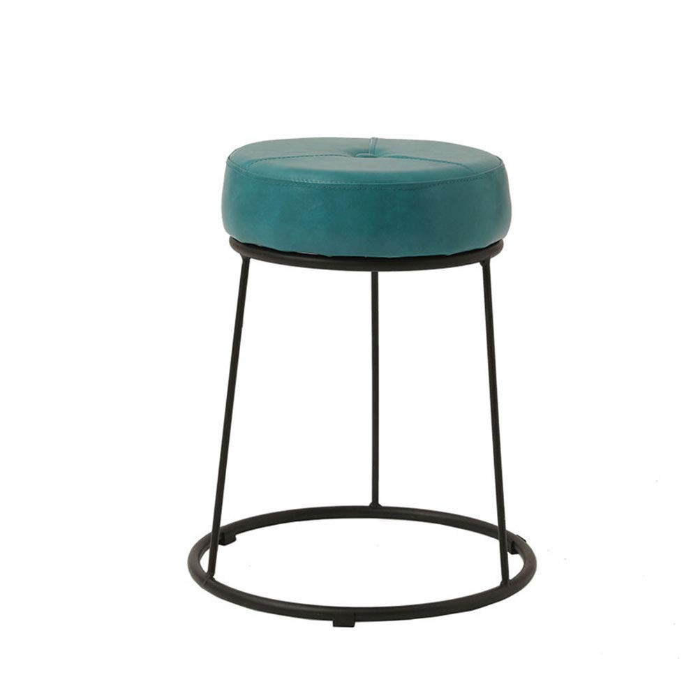GreenBlack Large Wrought Iron Frame Stool PU Cushion colorful Choice High Resilience Sponge Restaurant Living Room Bedroom Dressing Table Stool (color   GreenWhite, Size   L)