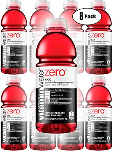Vitamin Water Zero, Acai-Blueberry-Pomegranate - XXX, 20oz Bottle (Pack of 8, Total of 160 Oz)