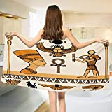 Chaneyhouse Egyptian,Bath Towel,Historical Ancient Symbols Set with Nefertiti Profile Antique Artwork,Customized Bath Towels,Ivory Marigold Black Size: W 19.5'' x L 39.5''
