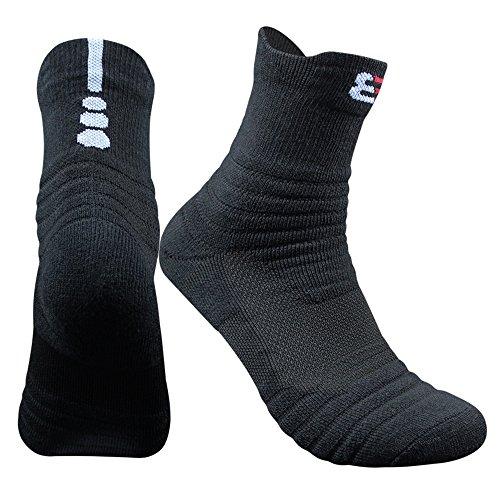 Us Basketball Quarter Sock - Muryobao Men's Cotton Sports Athletic Compression Socks Elite Basketball Cushioned Mid-crew Training Socks Black,Mens (6.5-11.5) US