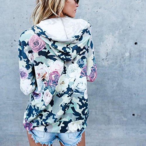 Vert Floral Femmes Capuche Pardessus Casual Print Pocket Veste Sweat À Smileq Shirt Outwear Manteau Top pqBUxC6wC