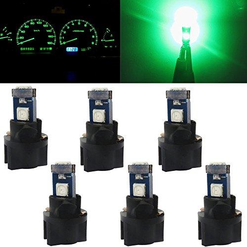 WLJH 6pcs T5 73 74 Instrument Cluster Dash Shifter Indicator 3-3030SMD 1.5W LED Light Bulb w/Twist Lock Socket for Volkswagen,Green