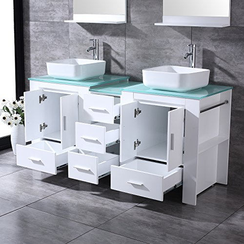 "BATHJOY Luxury 60"" White Bathroom Double Wood Vanity Cabinet with Square Ceramic Vessel Sink and Mirrors Faucet Drain Combo by BATHJOY (Image #4)"