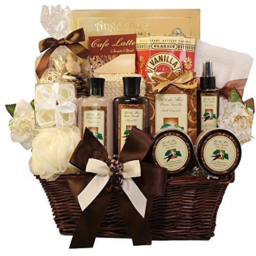Essence of Luxury Warm Vanilla Spa Bath and Body Gift Basket Set (Gift Basket Ideas For Auctions)