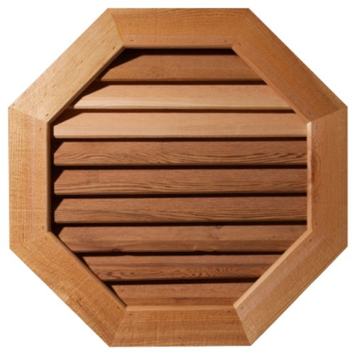 (Ekena Millwork GVWOC22X2202RDPWR Primed, Decorative and Rough Sawn Western Red Cedar Octagonal Gable Vent with Decorative Face Frame)