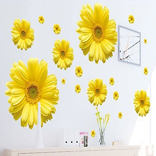 GigaMax(TM) New Yellow Chrysanthemums Wall Sticker Decal Home Decor for Living Bed Room Study TV Wall