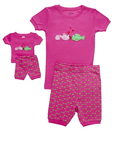 - Leveret Shorts Fish Matching Doll & Girl 2 Piece Pajama Set 100% Cotton (3 Years)