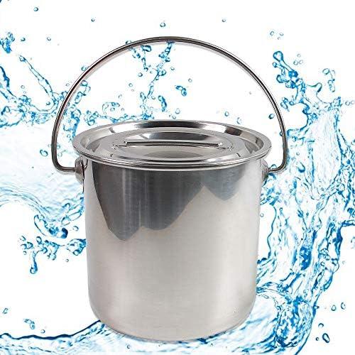 YIYIBY Edelstahl Eiseimer viele Anwendungen Fisch-Eimer Schlachte-Eimer Küche Kompost Eimer Abfalleimer mit Deckel Entfernbarer (12L)