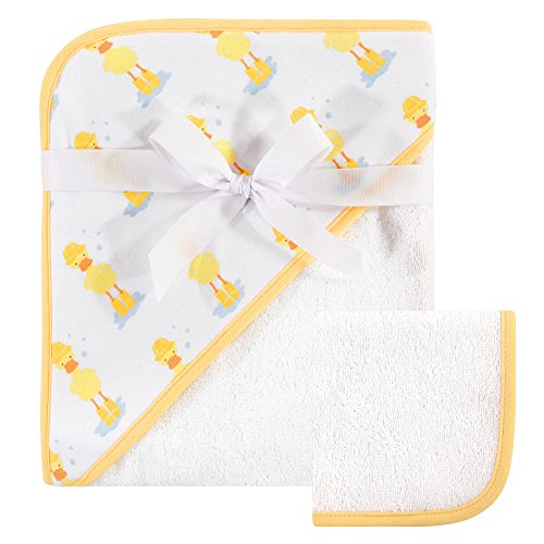 Hudson Baby Print Woven Hooded Towel and Washcloth, Duck, One Size ()