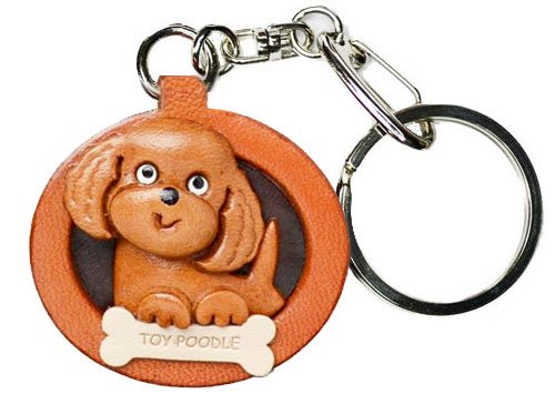 Toy Poodle Leather Plate Dog Keychain VANCA CRAFT-Collectible keyring Made in Japan