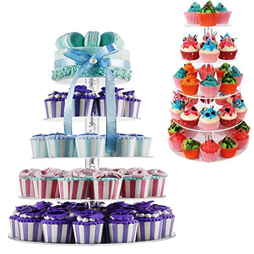 5-tired Round Cupcake Stand Clear Acrylic Desert or Cupcake Holder for Wedding Party