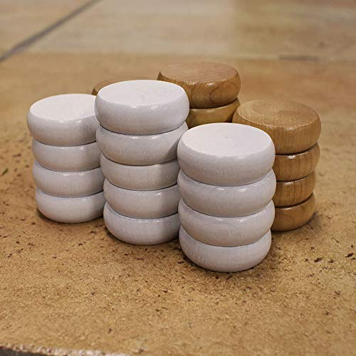 26 Traditional Size Crokinole Discs with 5x7in Cloth Pouch (Natural & White)