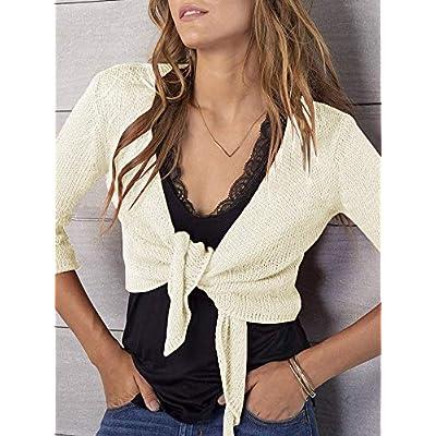 YeMgSiP Women's Sheer Crop Cardigan Shrug Tie Front 3/4 Sleeve Lightweight Bolero Sweaters Short Shawl at Women's Clothing store