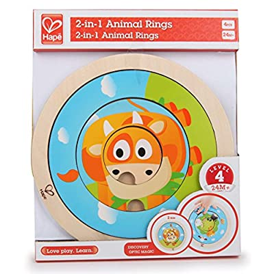 Hape 2-in-1 Spinning Farm Puzzle Game, Multicolor, 5'' x 2'': Toys & Games