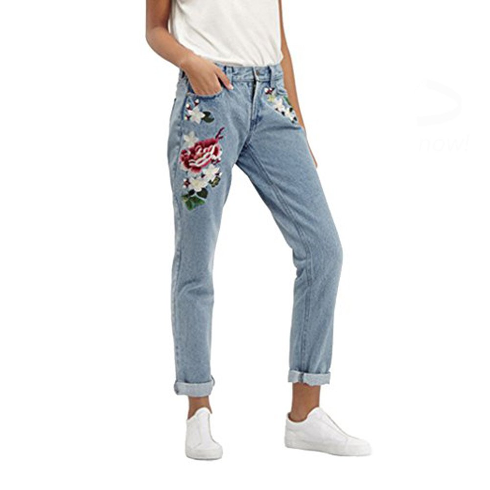 SITENG Womens Embroidery Jeans Light Blue Washed Denim Ripped Cotton Distressed Pants,6,Light Blue